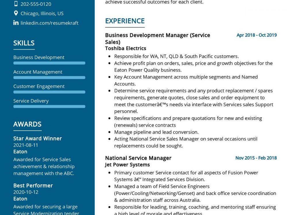 Business Development Manager CV sample