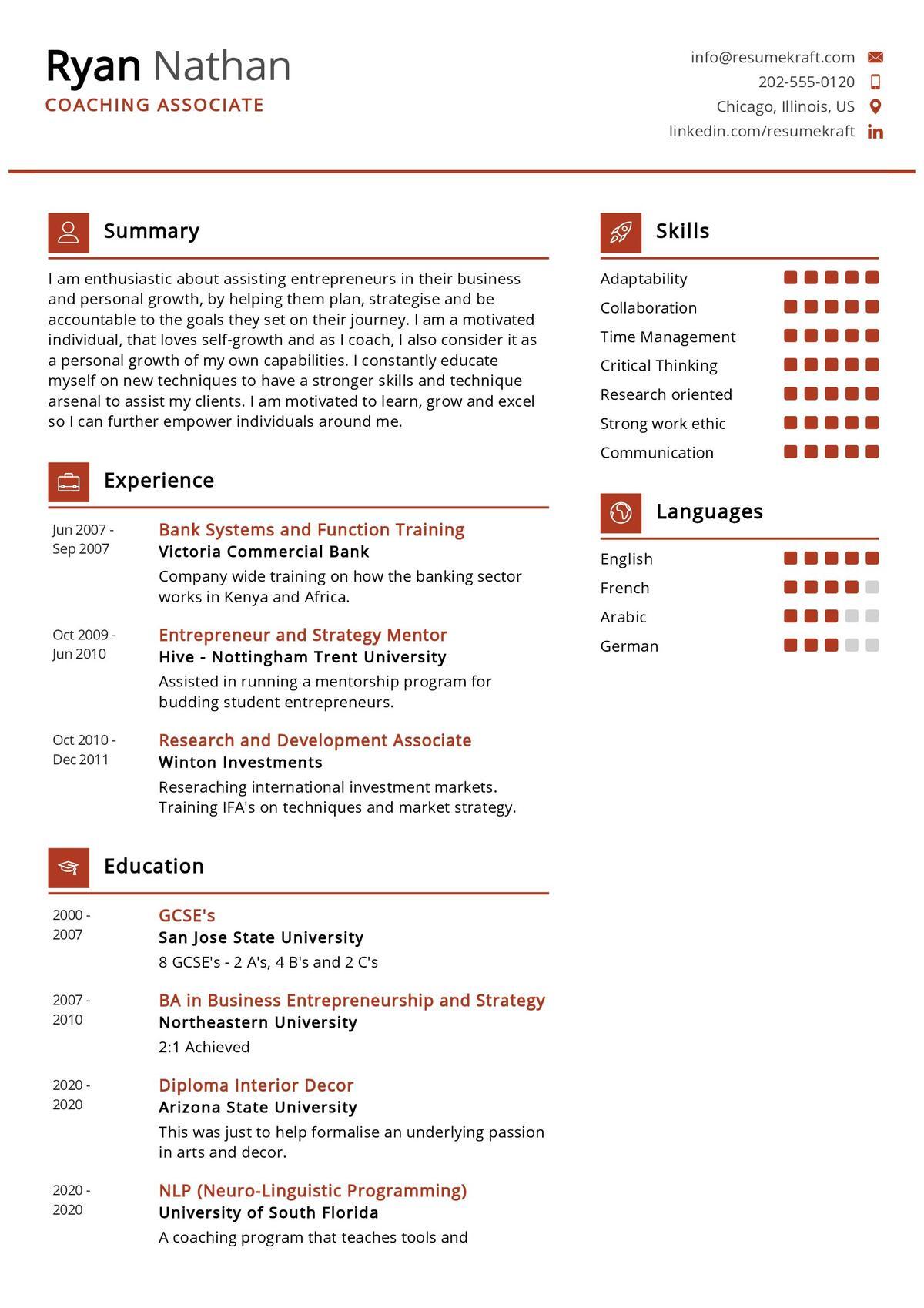 Coaching Associate CV Sample