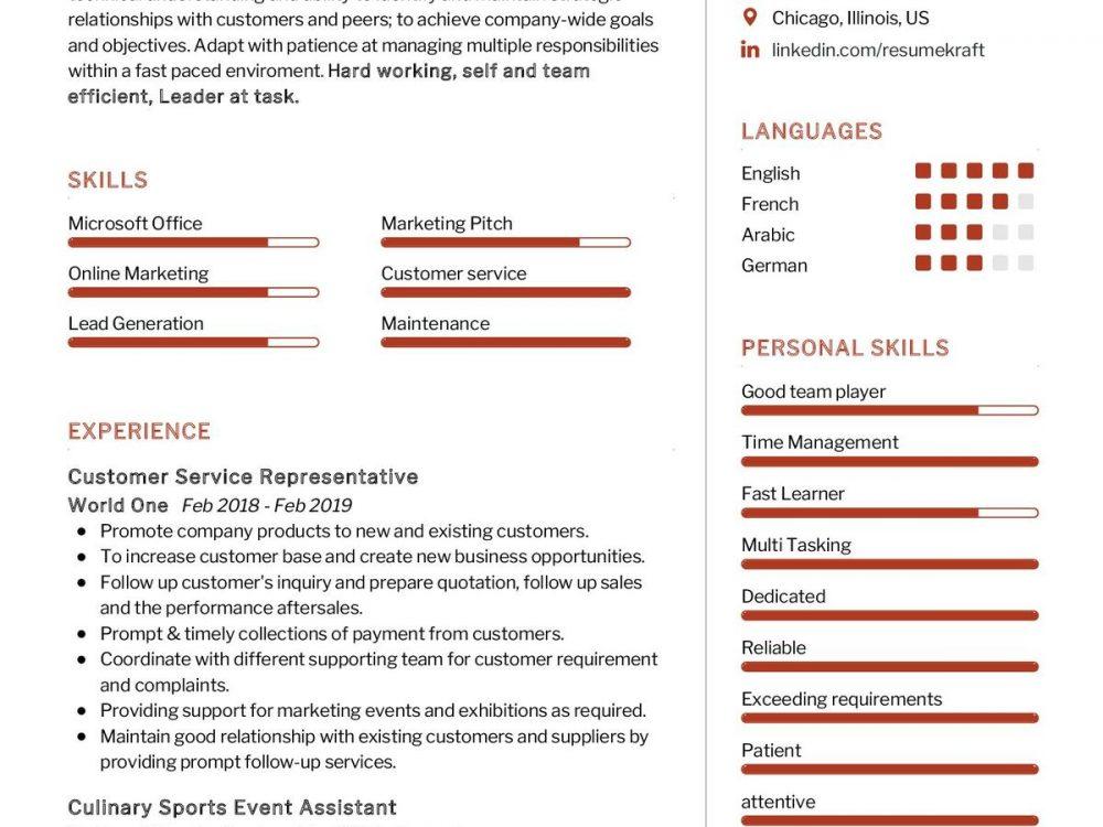 Customer Service Representative CV Sample