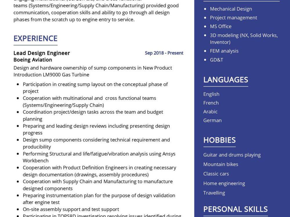 Design Engineer CV Sample