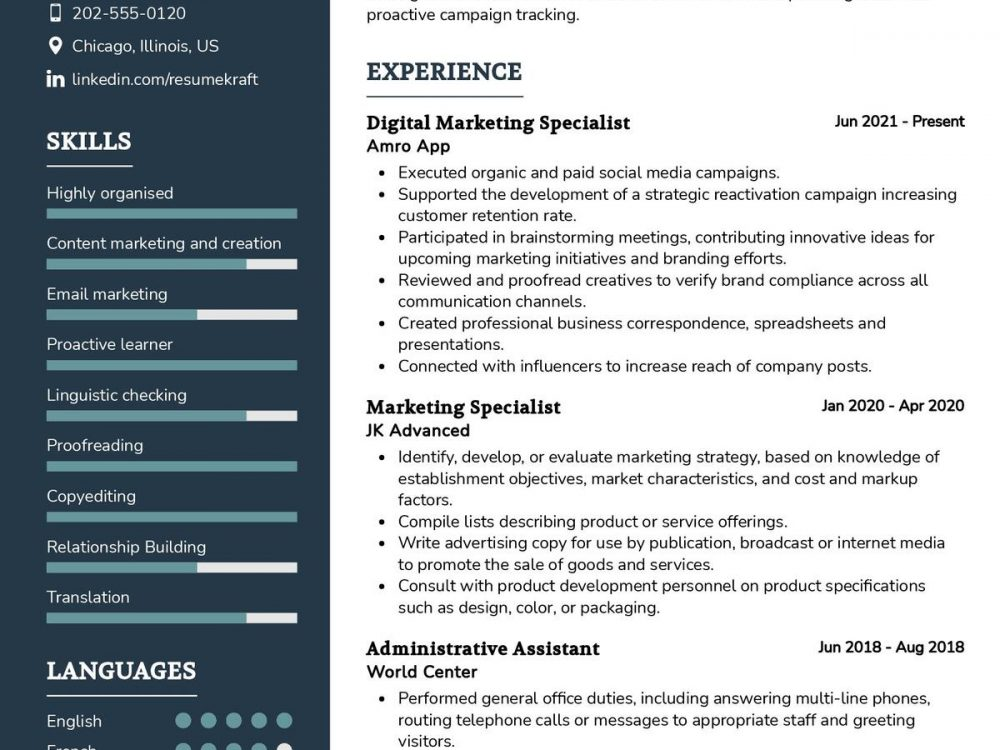 Digital Marketing Specialist CV Sample