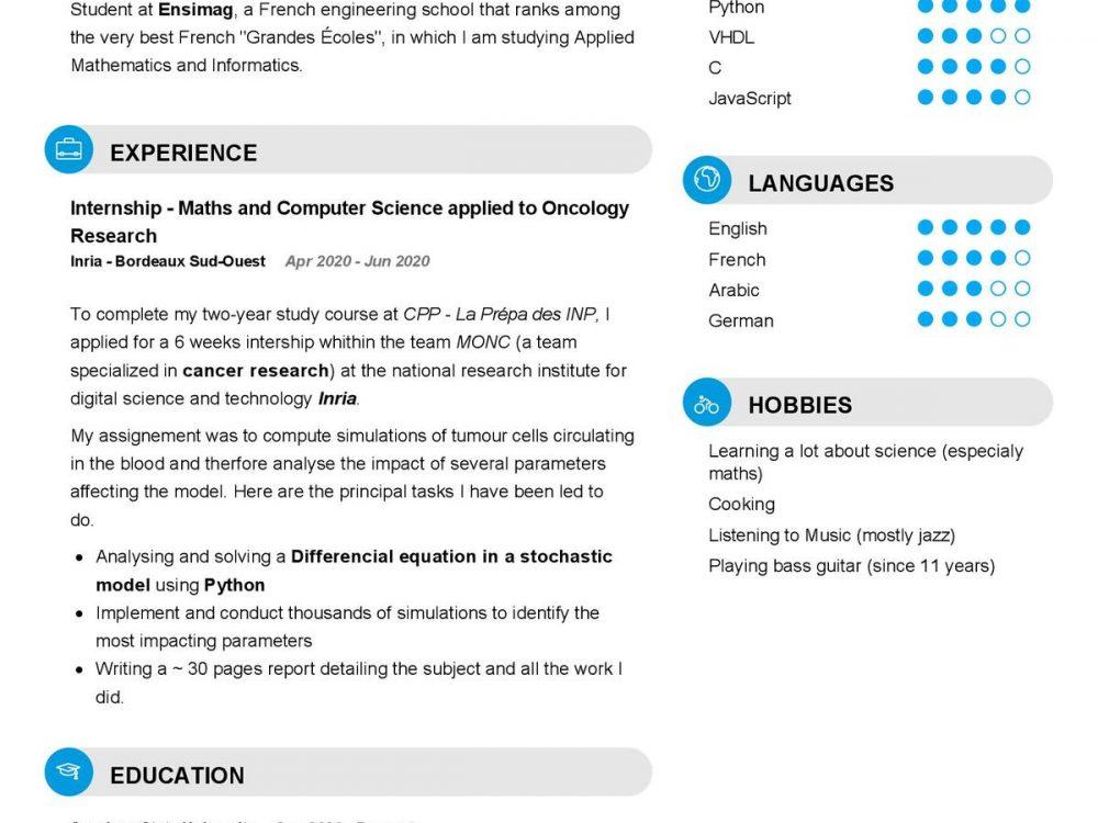Engineering Student CV Sample