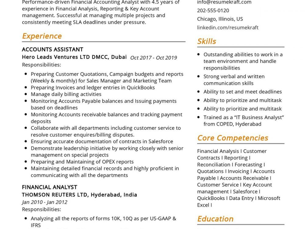 Financial Analyst CV Sample
