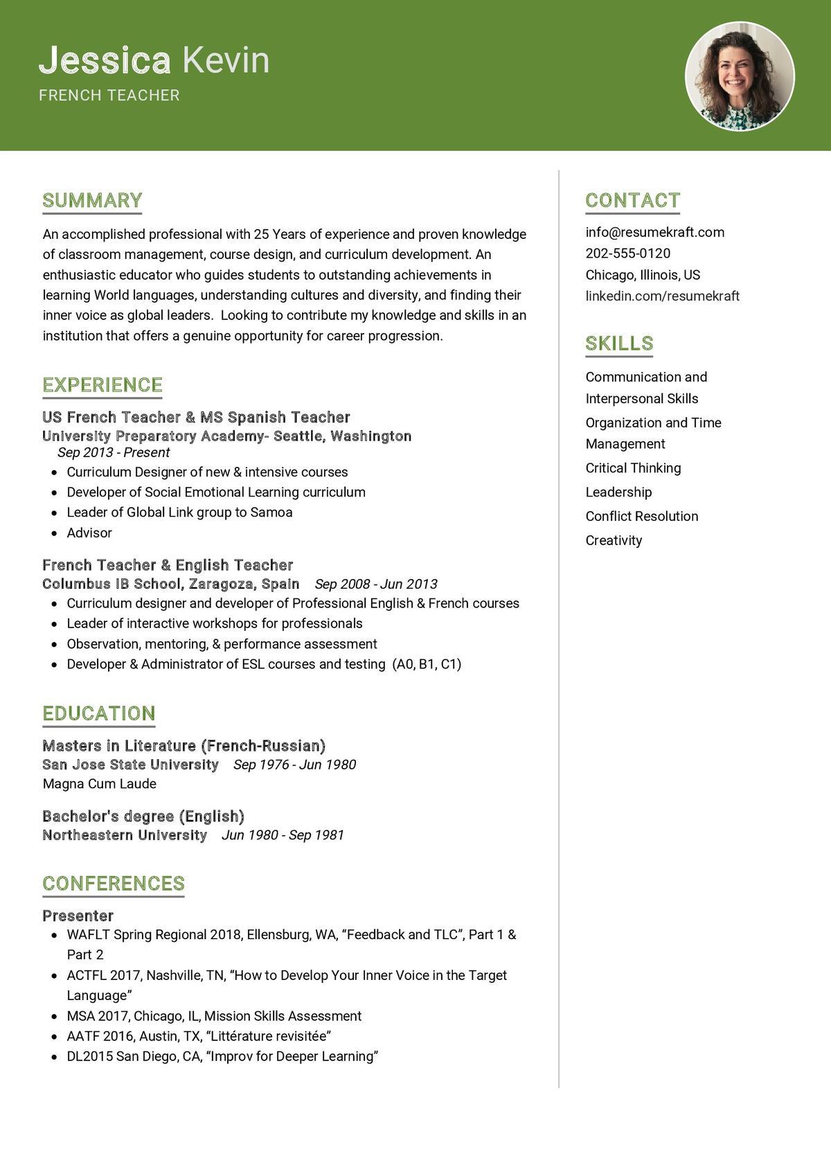 French Teacher CV Sample