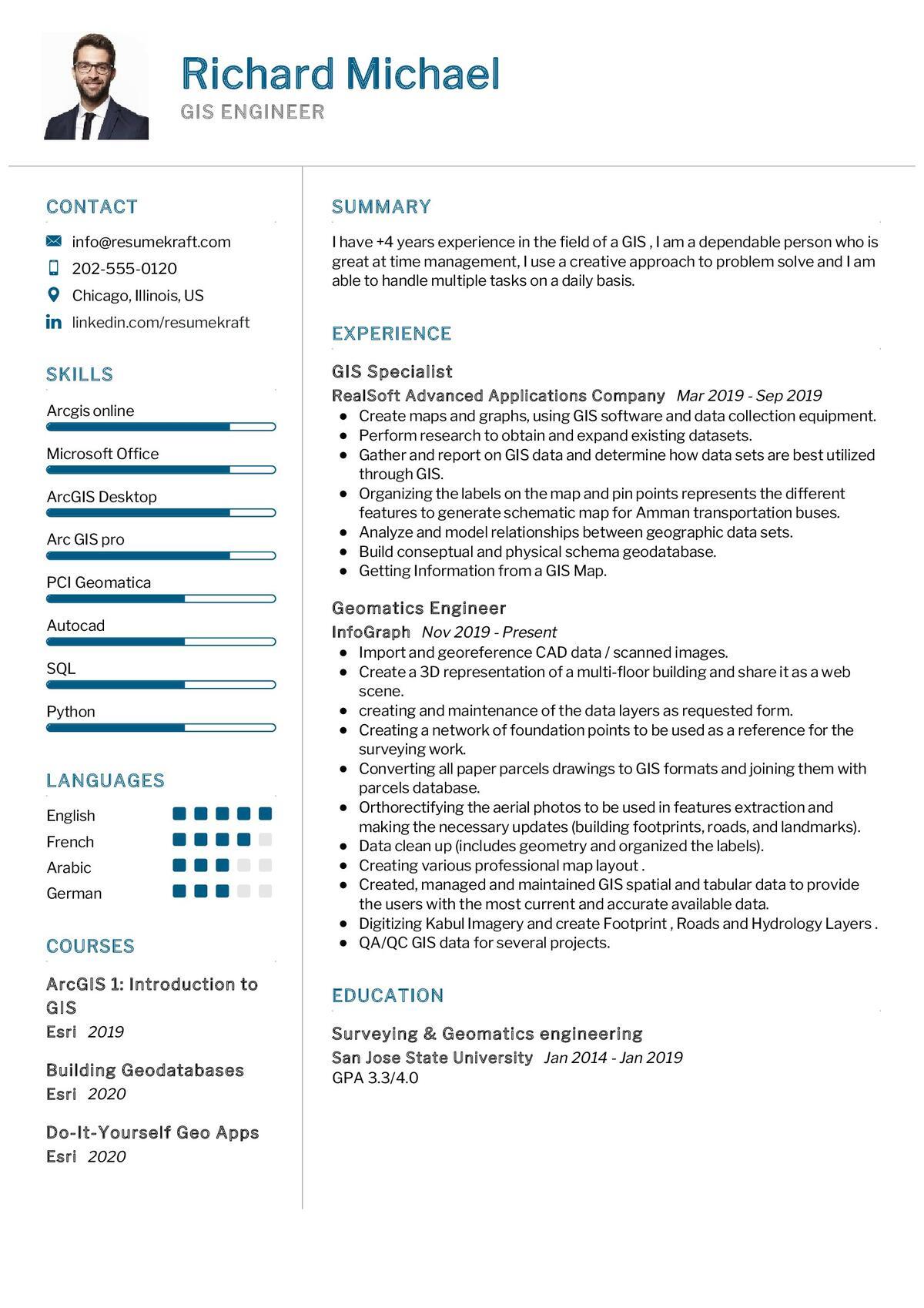 GIS Engineer CV Sample