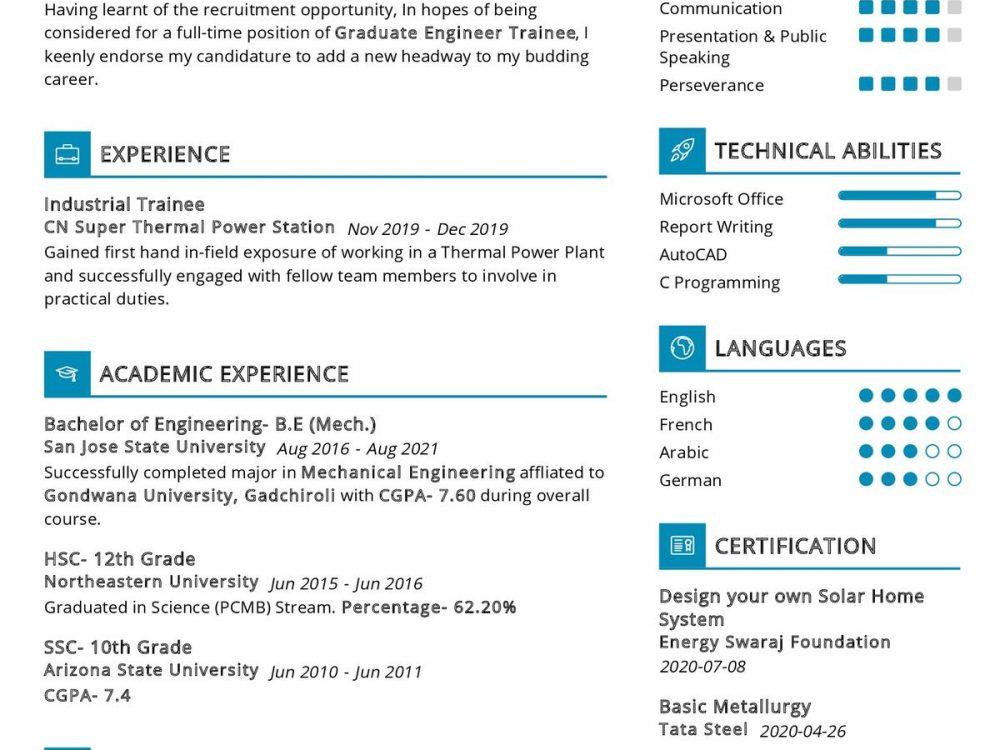 Graduate Engineer Trainee CV Sample