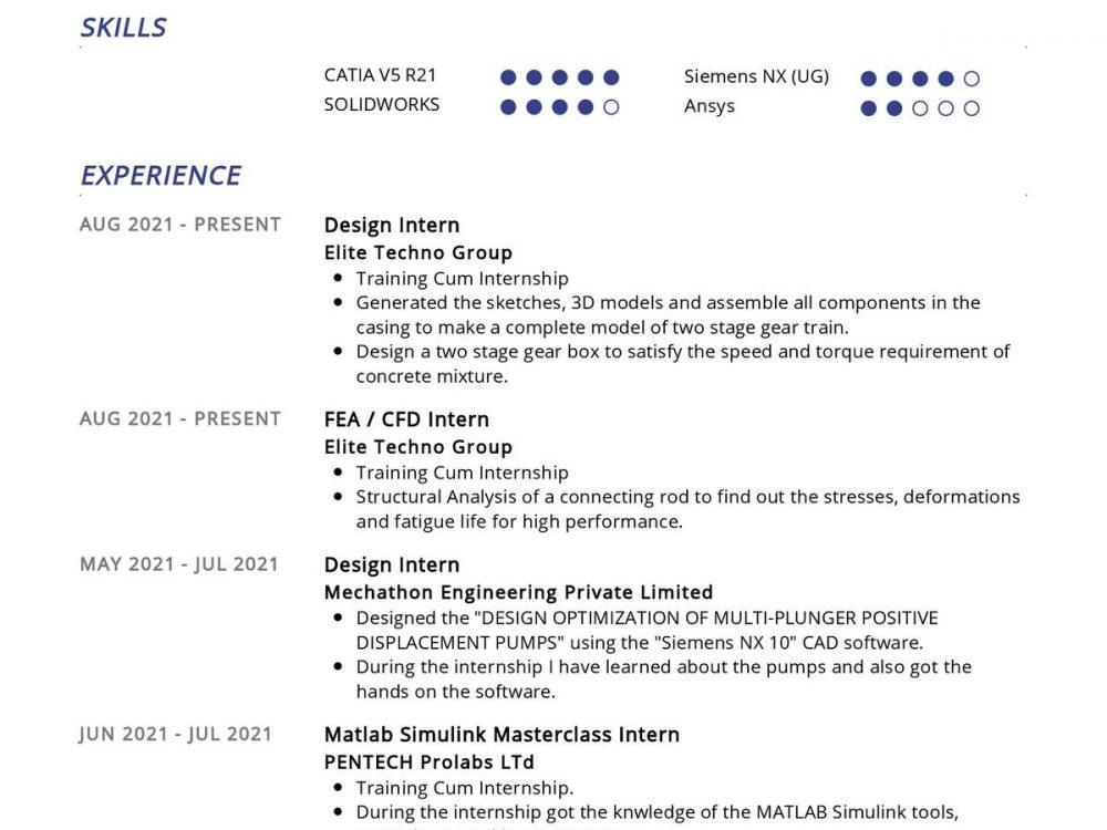 Mechanical Engineer CV Sample