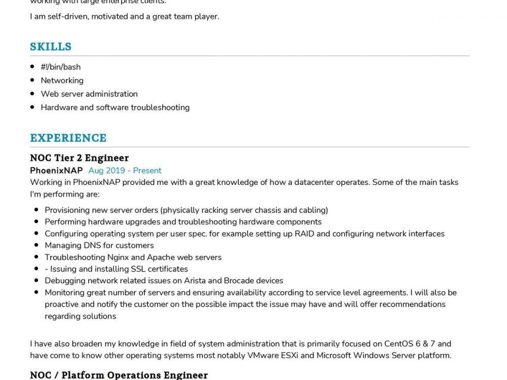 NOC Engineer CV Template