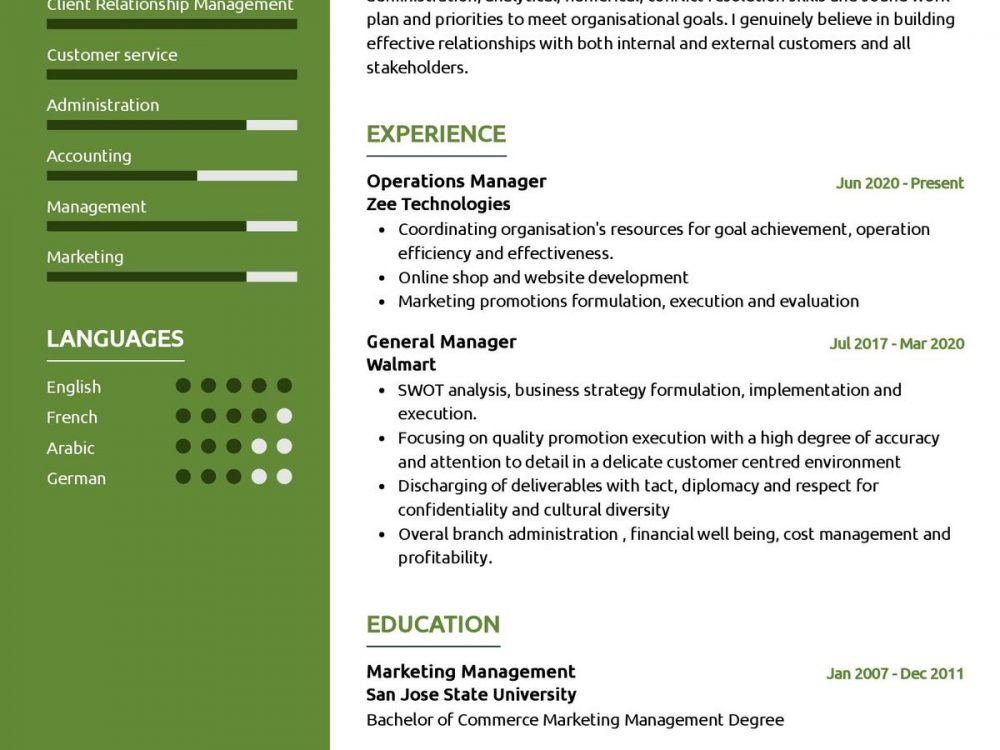 Operations Manager CV Sample