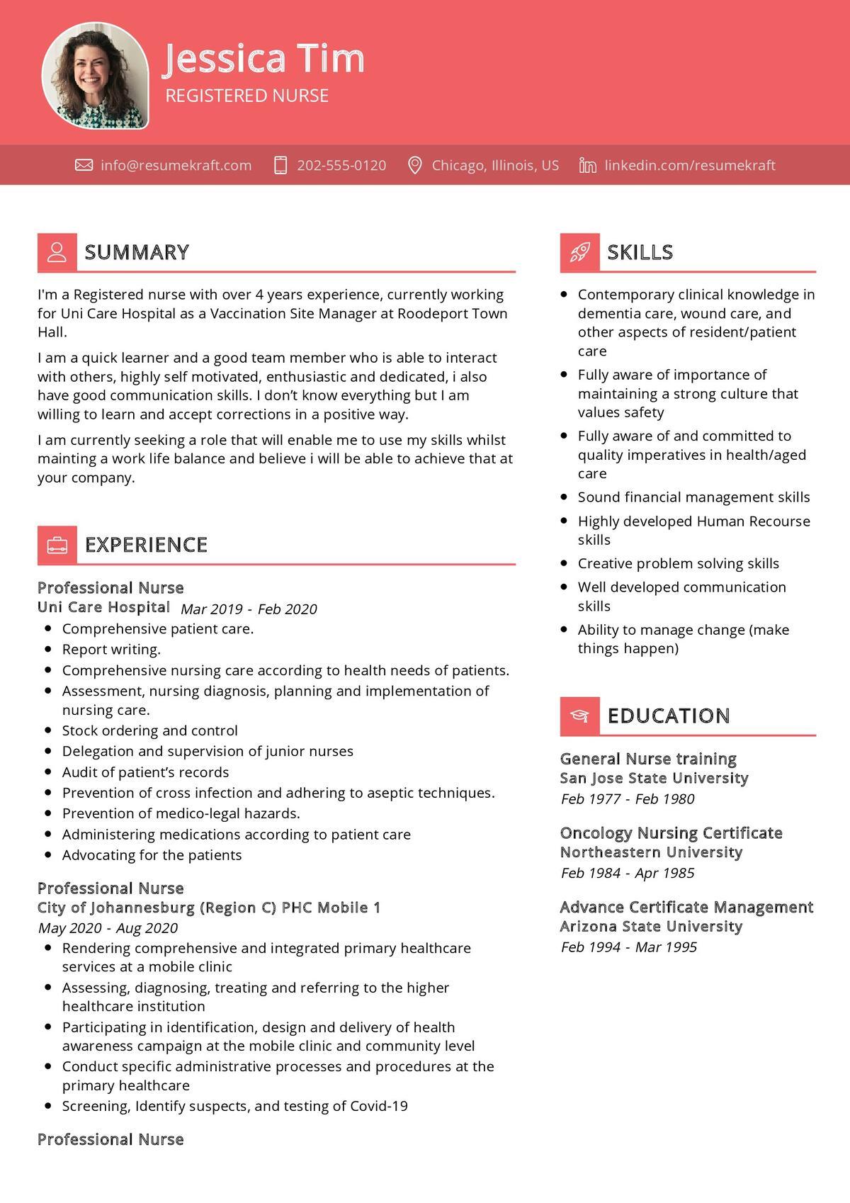 Registered Nurse CV Sample