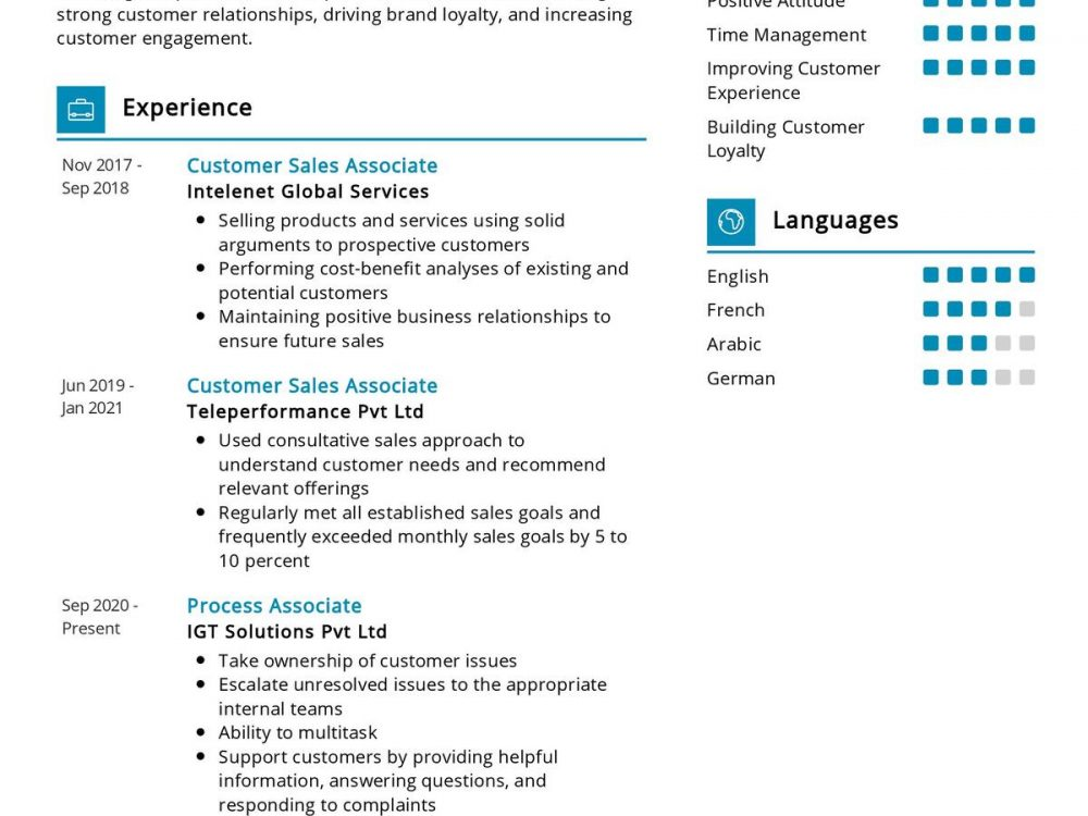 Sales Associate CV Sample