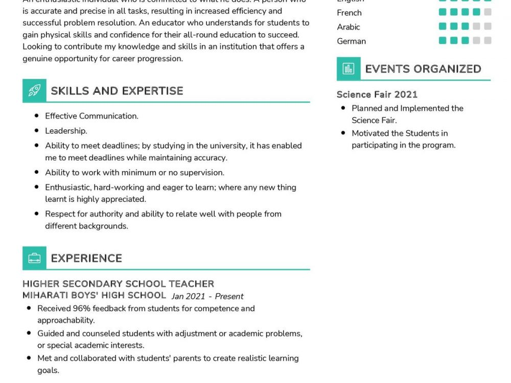 Secondary School Teacher CV Sample