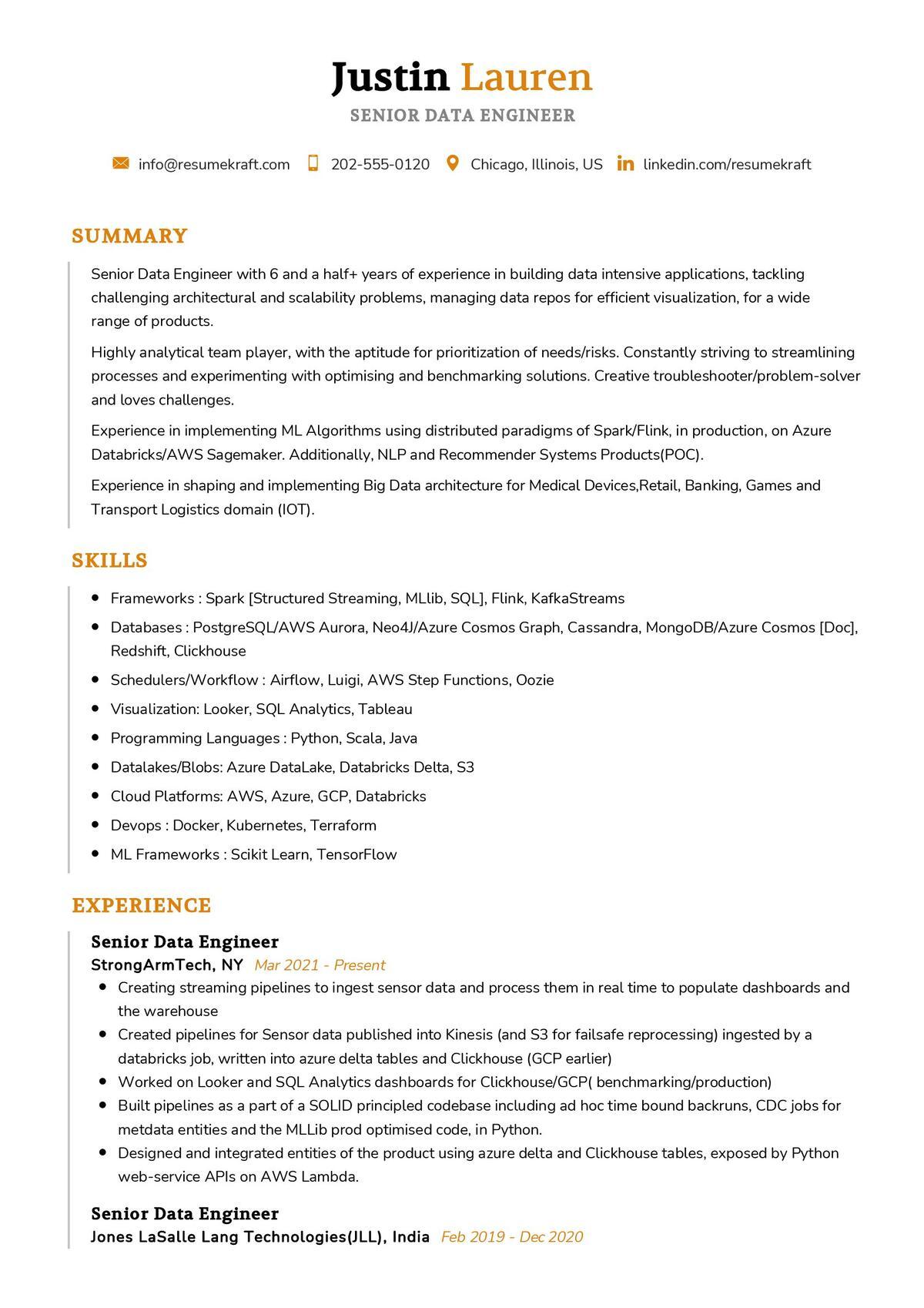 Senior Data Engineer CV Sample
