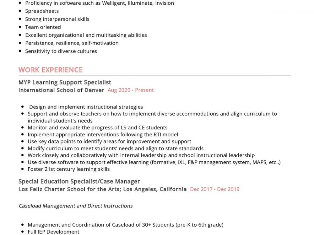 Special Education Specialist CV sample