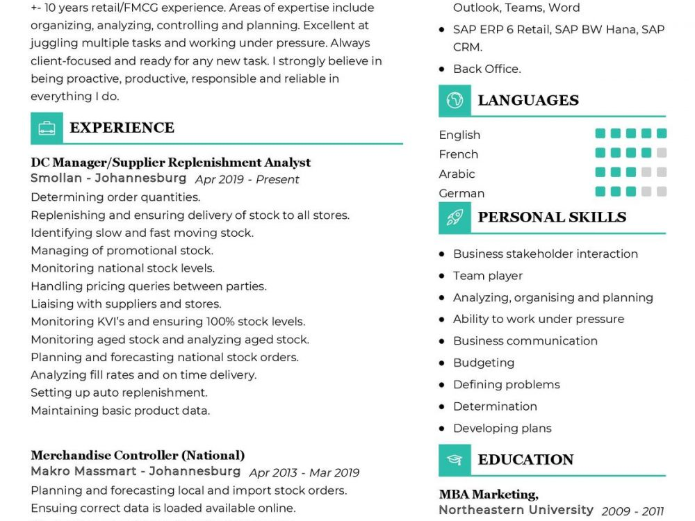 Supply Chain Manager CV Sample