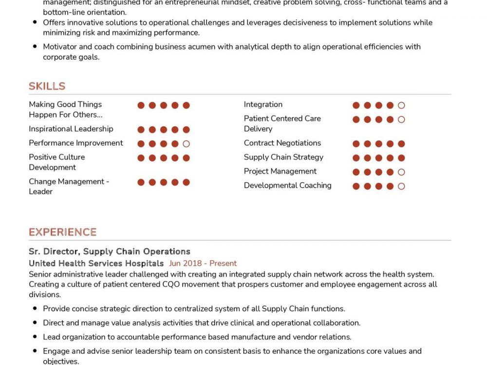 Supply Chain Operations CV Template