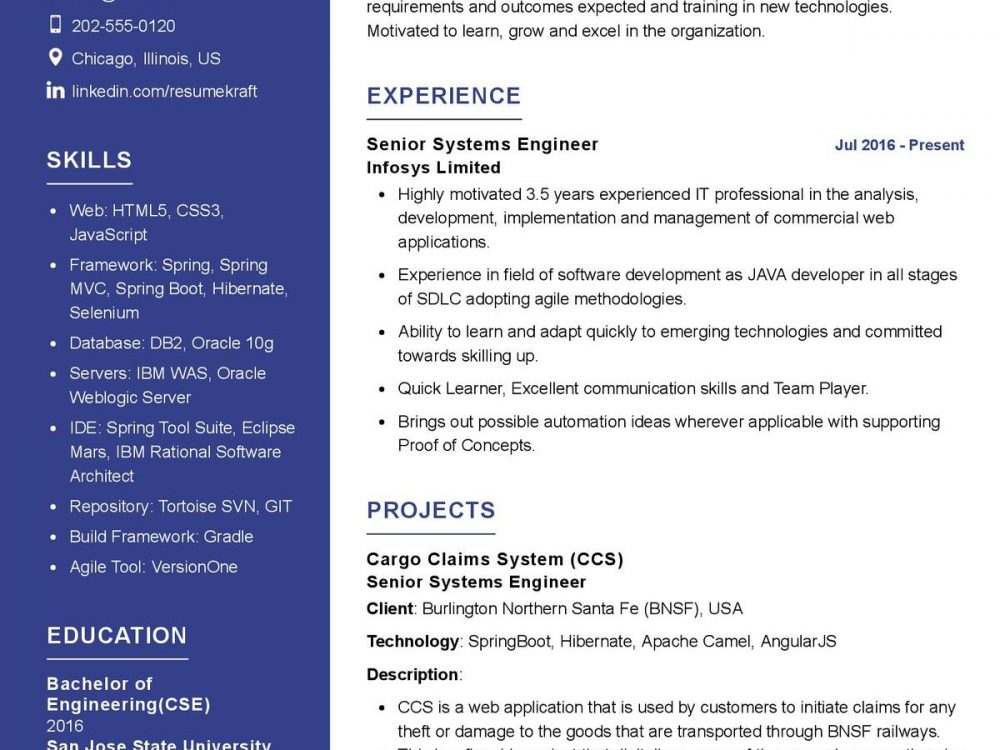Systems Engineer CV Template
