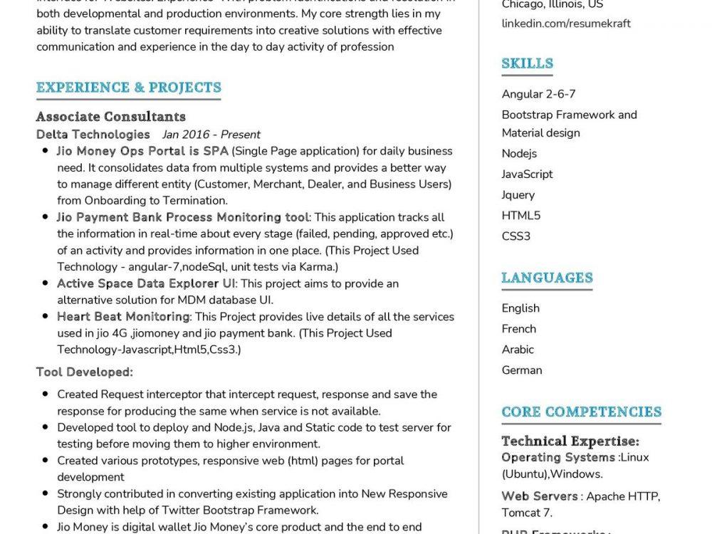 UI Developer CV Sample