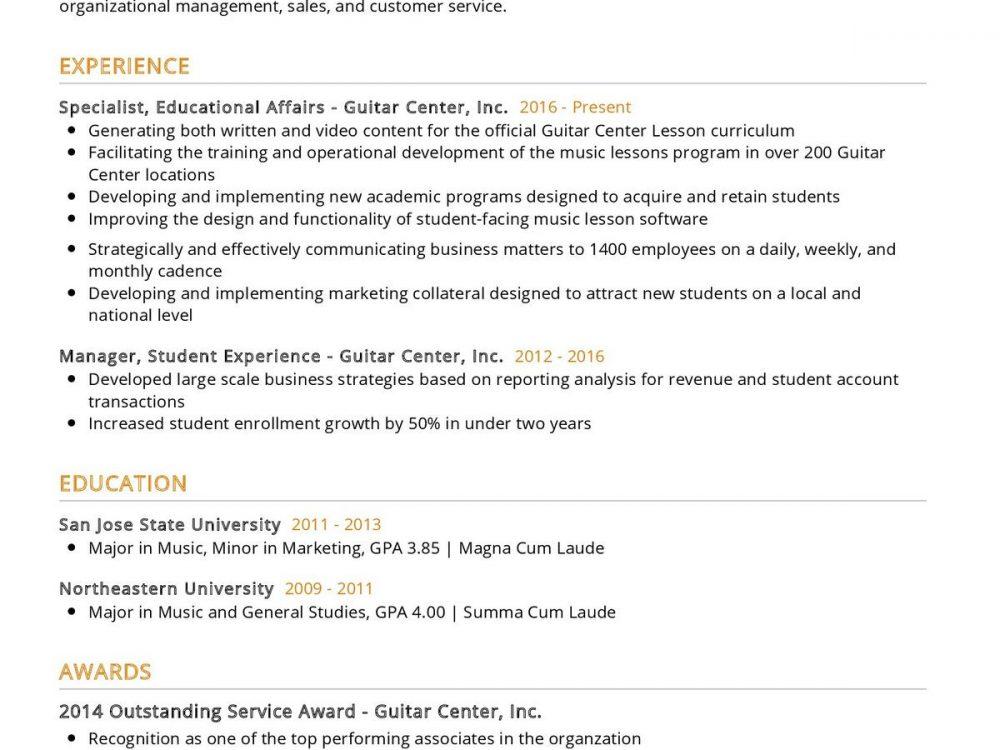 Music Educator CV Sample
