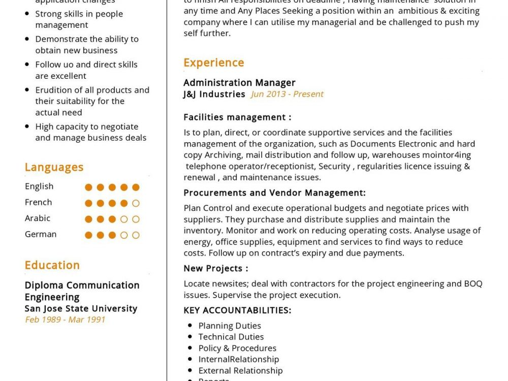 purchase manager cv sample
