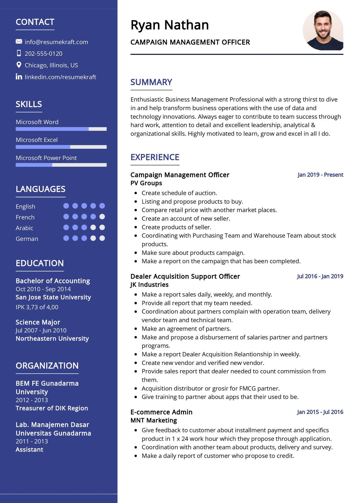 Campaign Management Officer CV Example