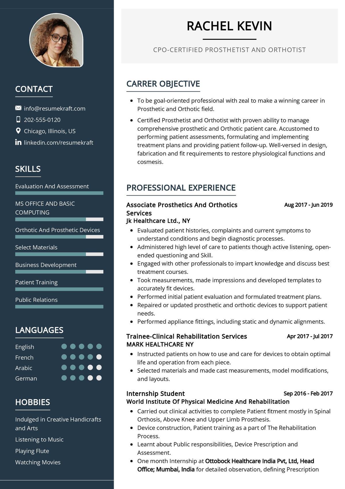 Certified Prosthetist And Orthotist CV Sample