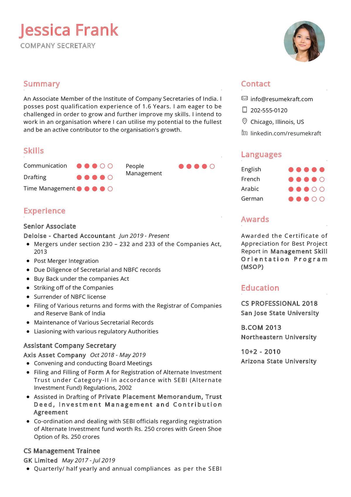 Company Secretary CV Sample