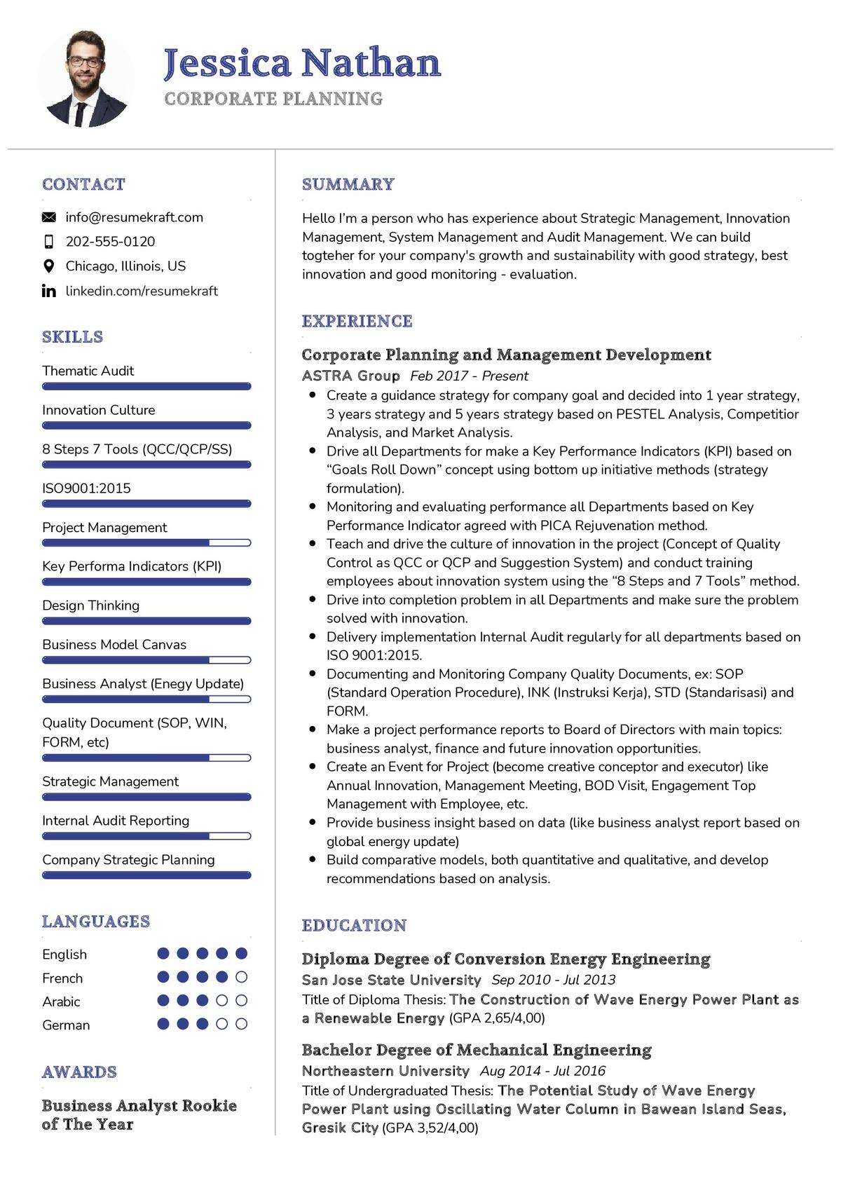 Corporate Planning CV Example
