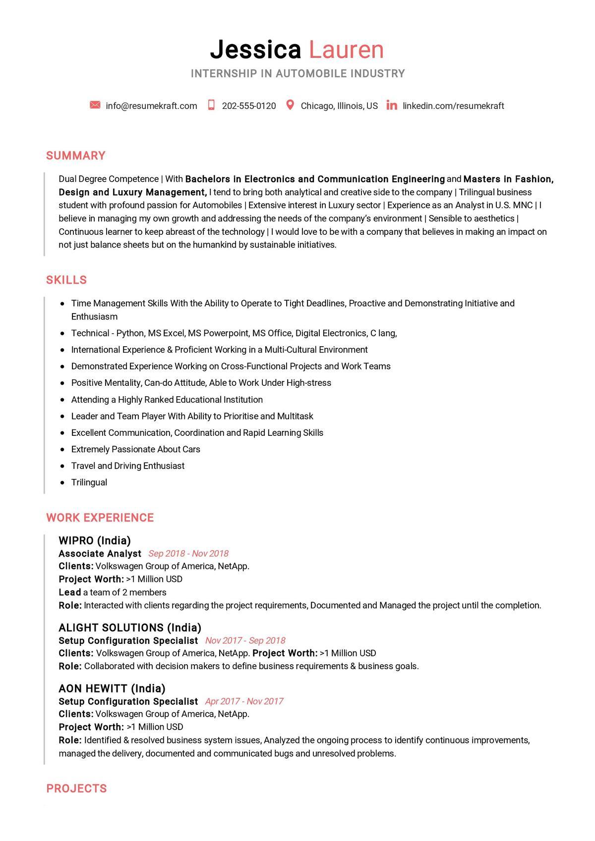 Internship CV Example