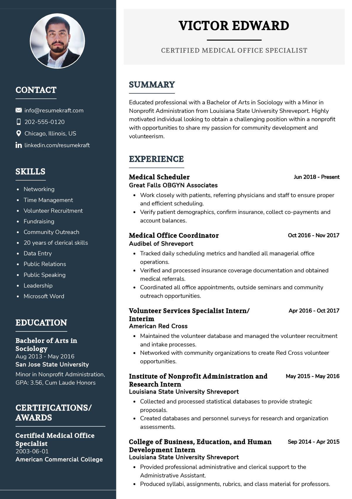 Medical Office Specialist CV Example
