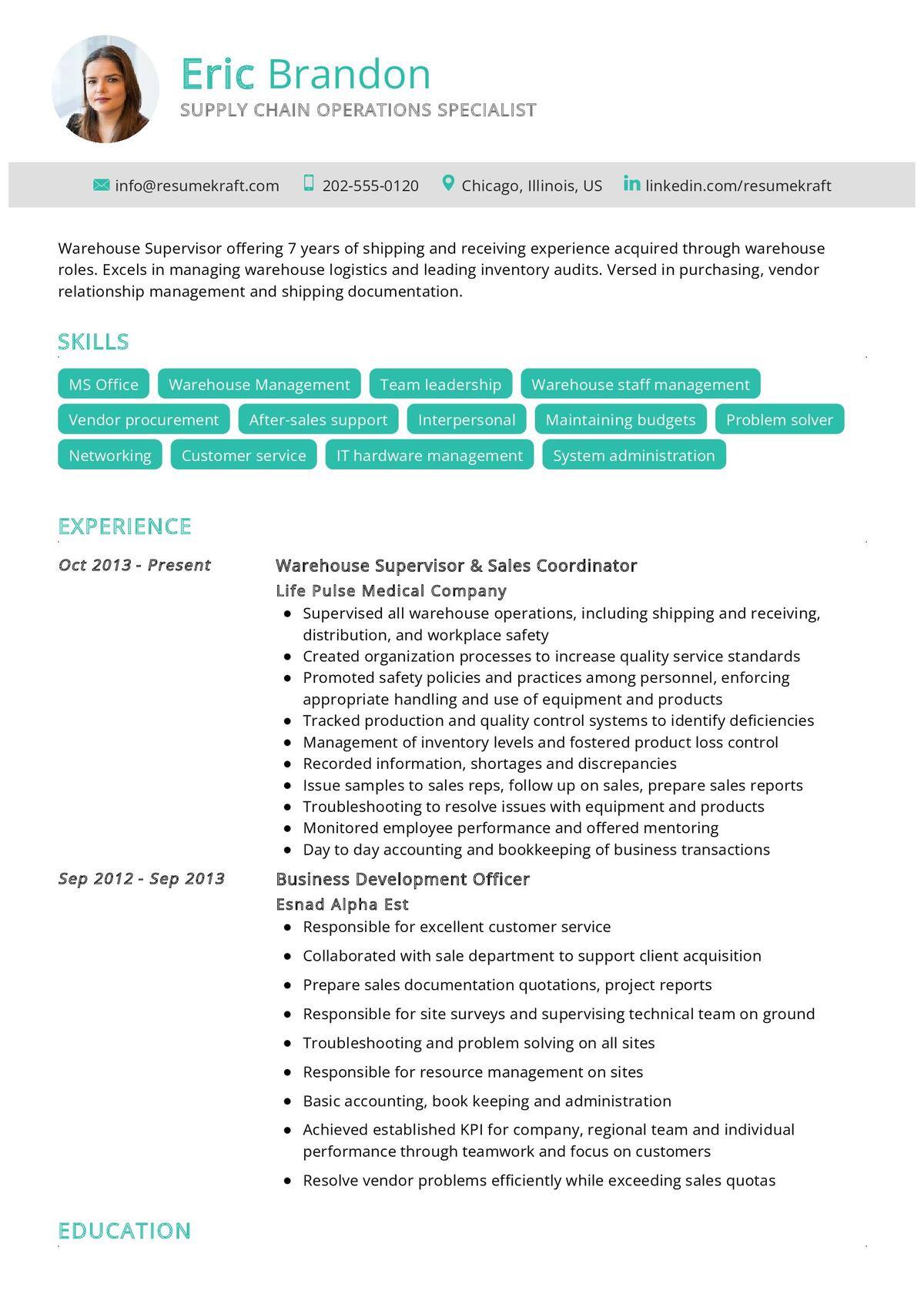 Supply Chain Operations CV Example