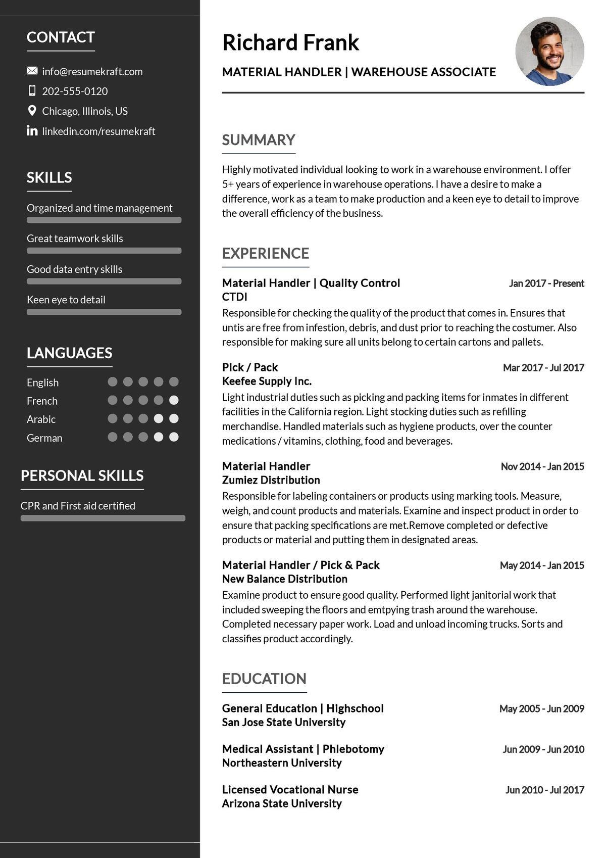 Warehouse Associate CV Sample