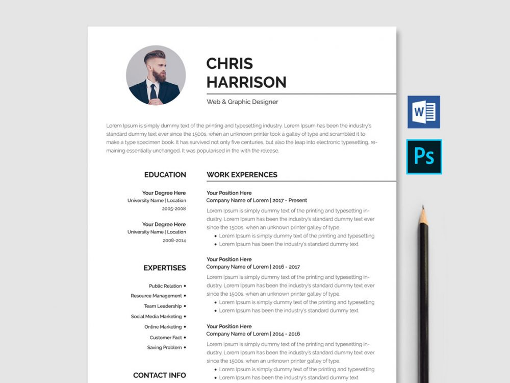 Professional Resume Template Free Download Word Psd Resumekraft