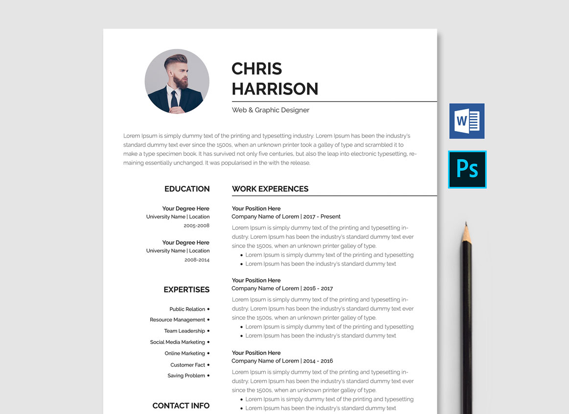professional resume template free download word  psd