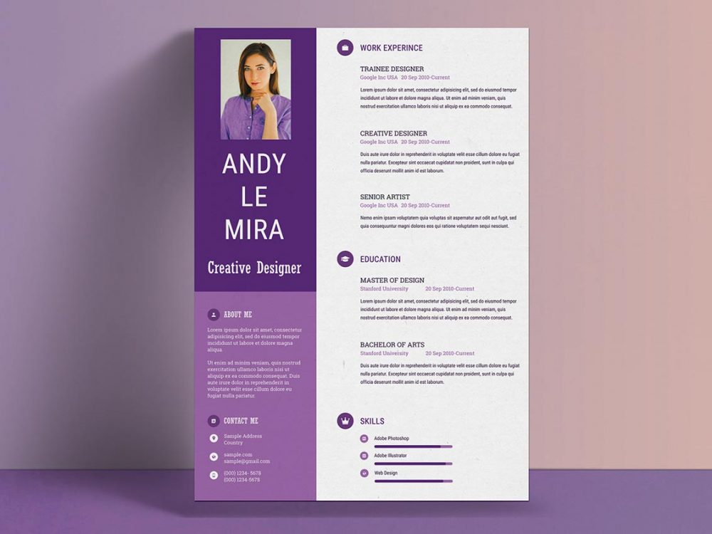 Purple Color Resume Template Free