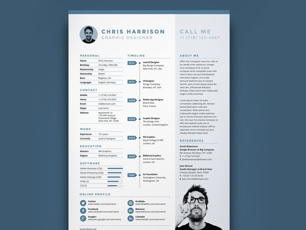Best Creative Timeline Resume Template Free Download