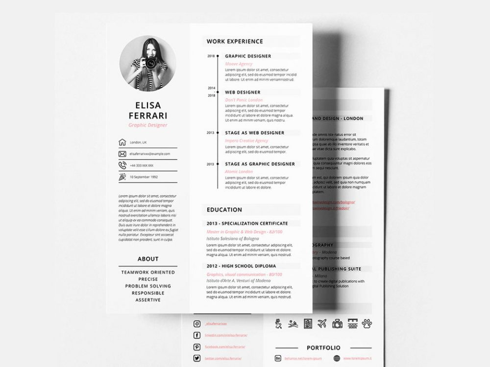 Free Creative Resume / CV Template With Two Pages - ResumeKraft