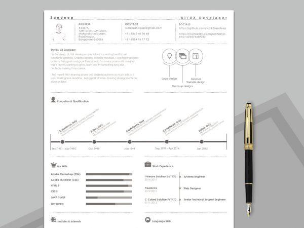 Timeline CV Resume Template Free