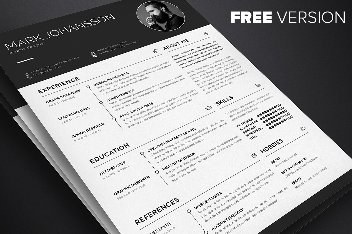 professional clean resume template free download