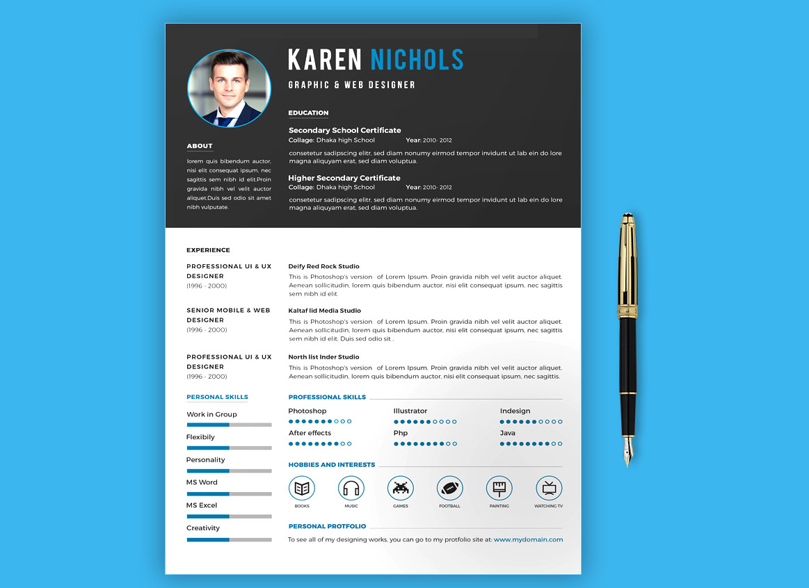 creative simple resume template free download