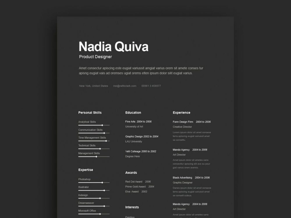 simple dark color resume template