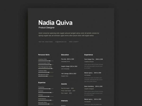 Dark Color Resume Template