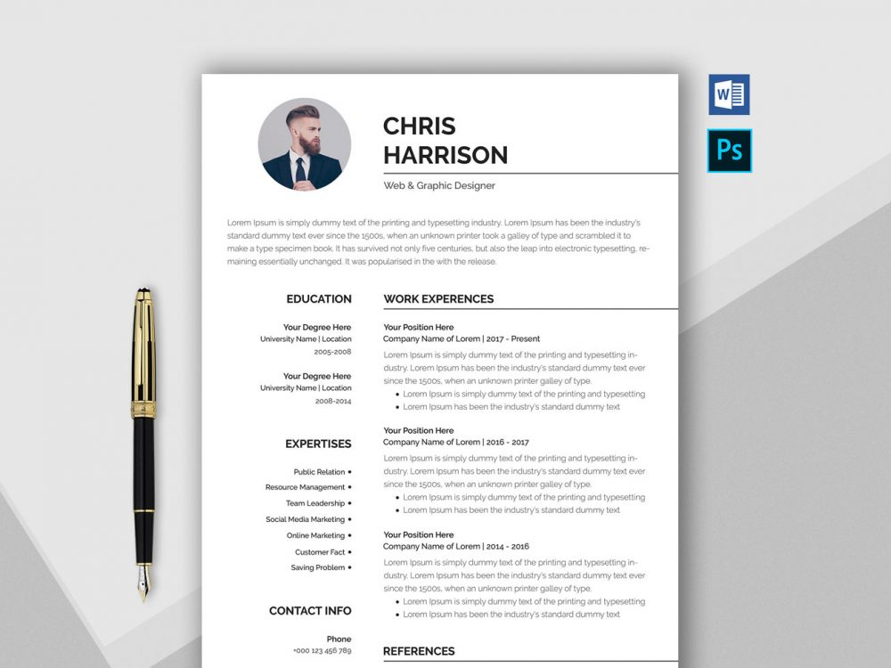 free professional resume template in word  u0026 psd format