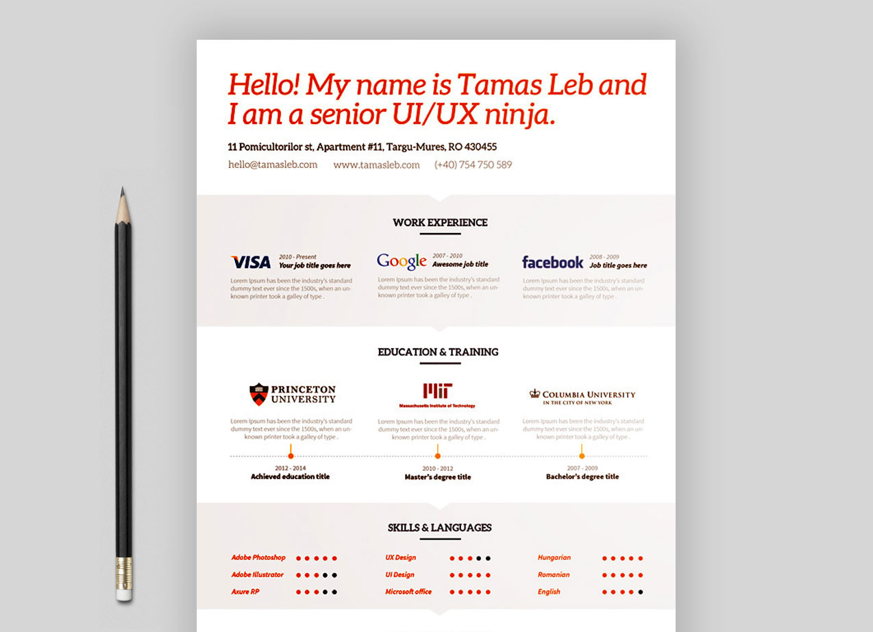 Free Visual Resume Template Download Resumekraft