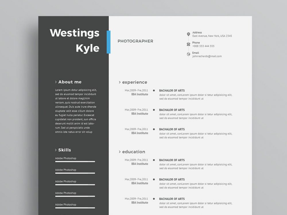 Modern CV Template PSD Free Download - ResumeKraft