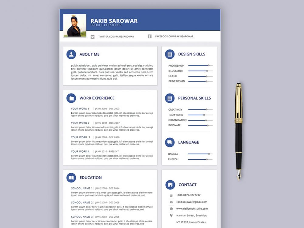 Material Design Resume Template Free Download Resumekraft