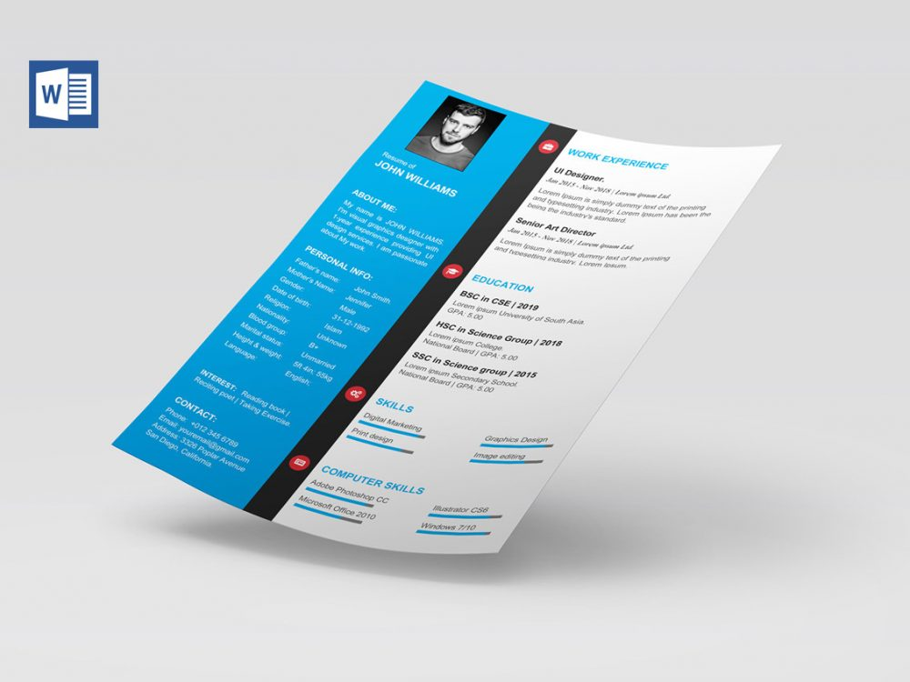 modern cv template word free download