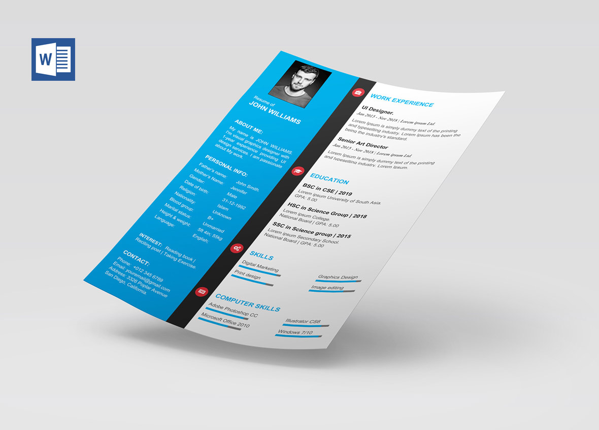 Modern Cv Template Word Free Download Resumekraft