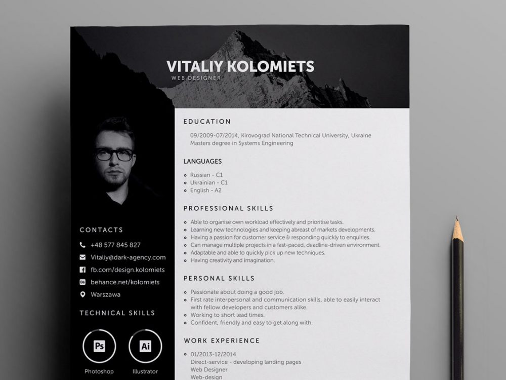 Professional Resume Template for Webdesigners