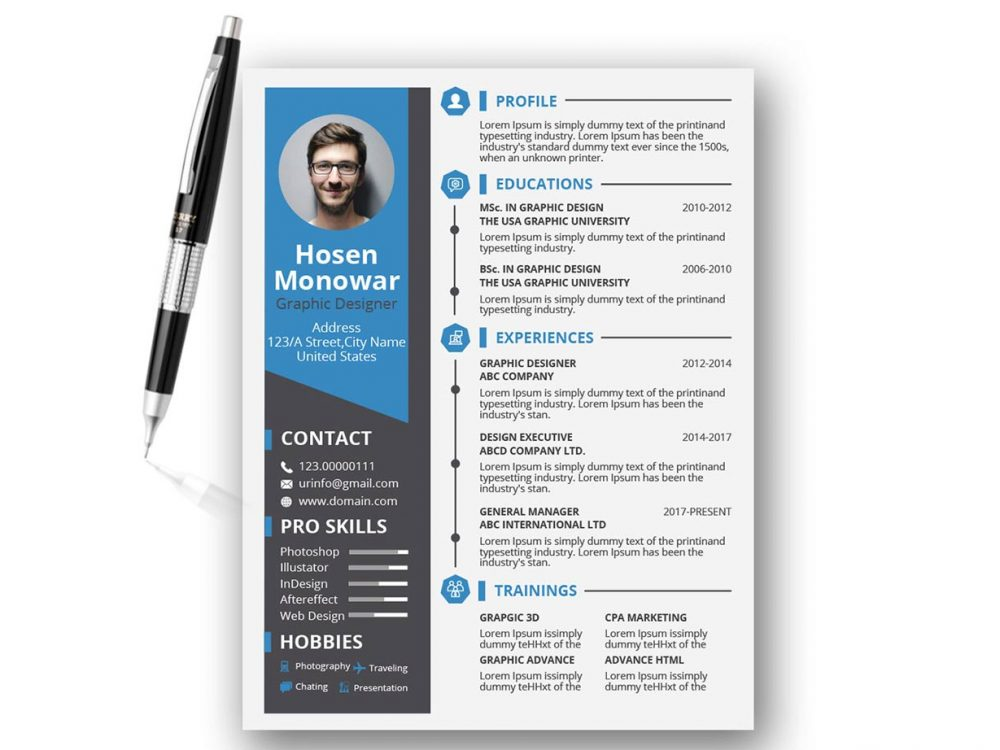 Resume Template PSD
